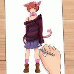 Картинки аниме девушек кошек карандашом