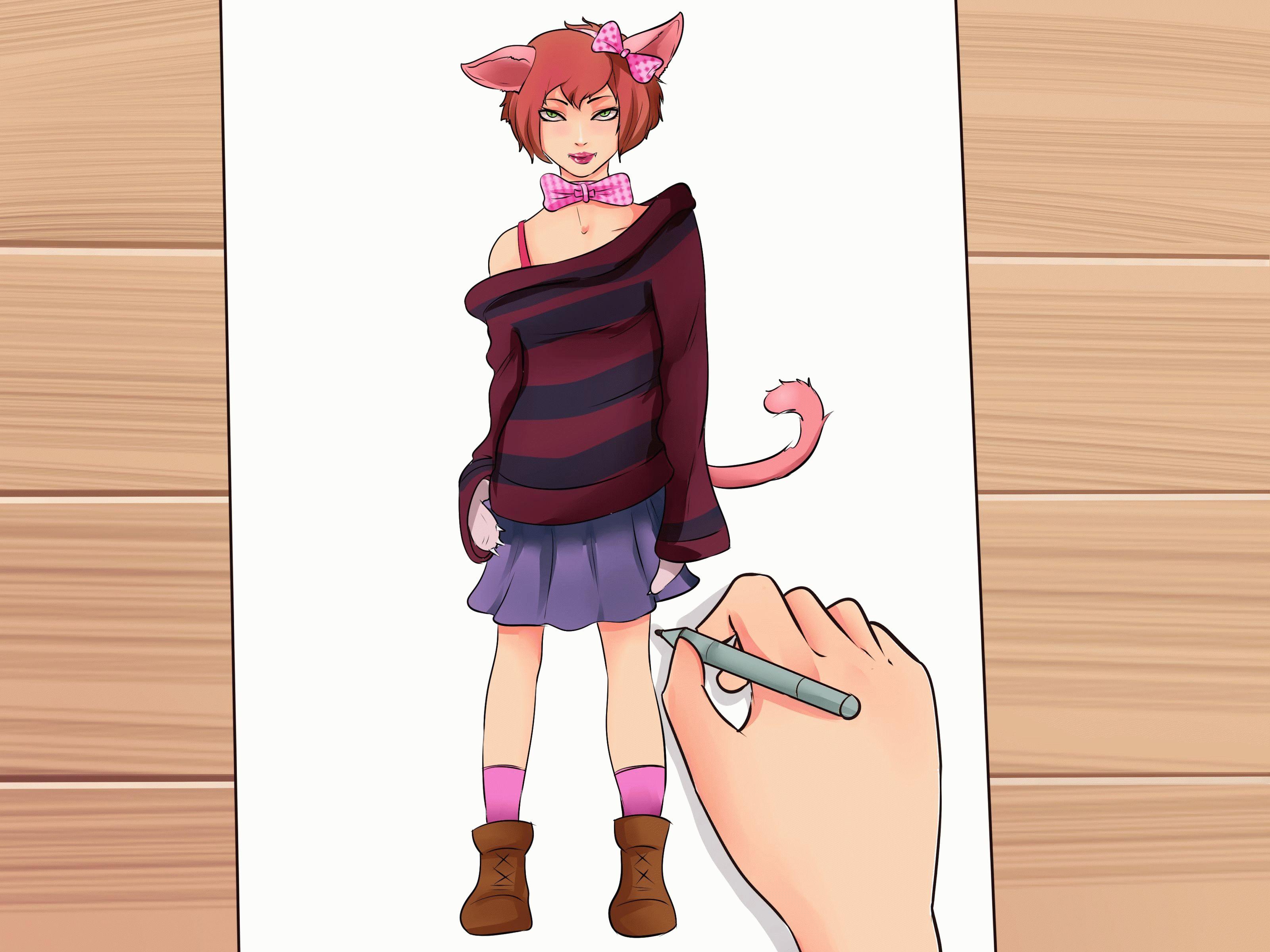 Рисунок карандашом девушка кошка фото