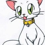 Картинки аниме кошек нарисованные карандашом