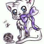 Картинки аниме кошек рисуем карандашом