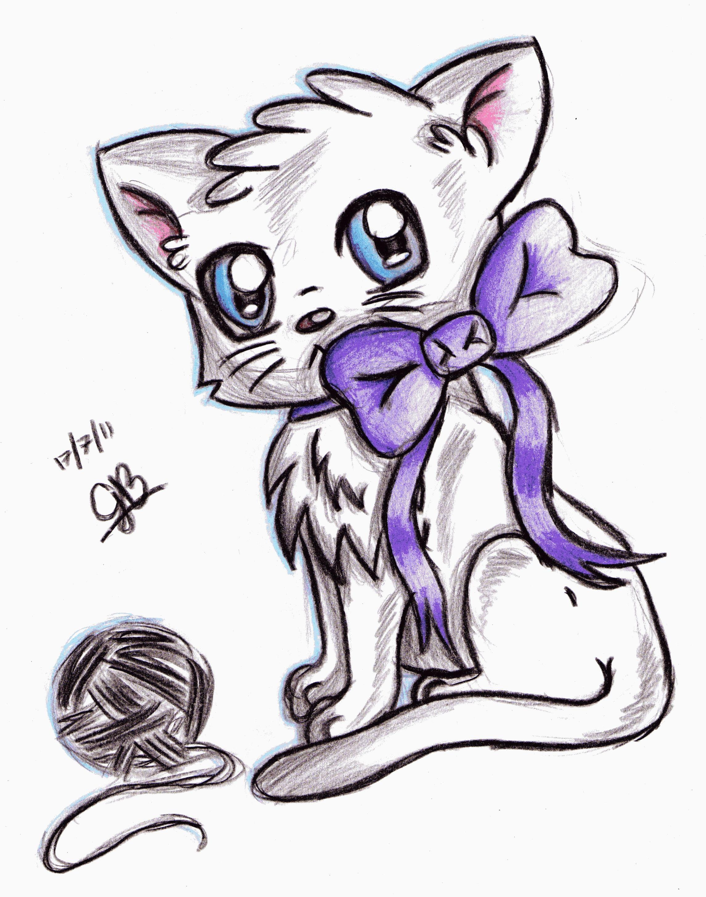 Как нарисовать аниме кота